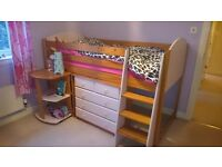 Pink Midi sleeper with desk and chest of drawers