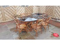 Cane patio furniture and 6 chairs