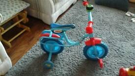 Kids thomas the tank bike with stabilisers