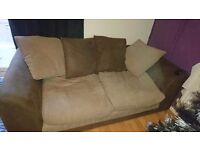 2 seater sofa, beige and brown suede effect