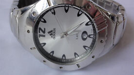 RARE HIGH QUALITY Adidas Stainless Steel Performance Metal Wristwatch Water Resistent Date White
