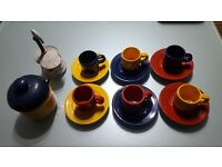 6 Pc Cups & Sourcers + Mocha & Sugar Bowl from Caffee Aroma Collection