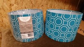 Lampshades - modern teal pattern