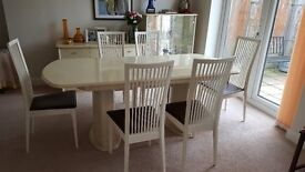 Dinning table six chairs ,side board