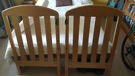 Mama and papas wooden cot and matress.