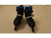 Inline skates/rollerblades, adjustable between UK1 and UK3