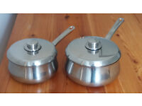 2 SAUCE PANS WITH LIDS - STAINLESS STEEL (HEAVY BASE)