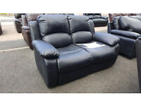 Code 47 - Cambridge 2 Seater Black Leather Recliner Sofa - Damaged Clearance