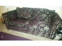 Aubergine & Bronze Patterned Sofa