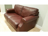 "A ""Furniture Village"" Leather Sofa and Matching Armchair - Very Very Comfortable."