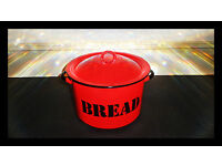 Original Big enamel Retro Vintage Bread Bin Red Black + White inside + collect or shipping possible