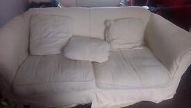 7ft white sofa with removable covers