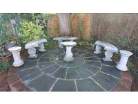 Weathered stone/concrete garden benches x3 with 2 pot stands and bird table