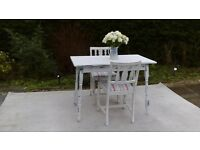 Small Kitchen/Dining Table & 2 Chairs. Shabby Chic, Old White.