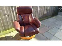 Red leather reclining arm chair