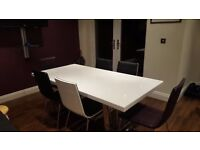 Harveys White Gloss Dining Table and 6 chairs