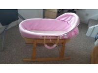 Moses basket with pink bedding £15