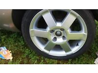"""16"""" ford wheels 4 stud with 4 good tyres (fit fiesta, KA connect etc)"""