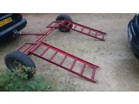 Towing dolly, car transporter, recovery trailer