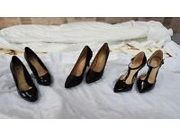3 x Pairs of ladies black high heeled (stiletteo) shoes all size 4