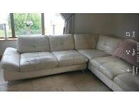 Cream italian leather corner sofa