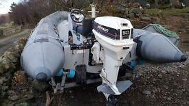 ZODIAC HURRICANE 440 Rigid inflatable boat. Johnson 50HP