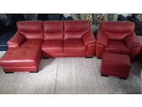 NEW Graded Red Leather Corner Sofa Suite with Matching Armchair and Footstool FREE LOCAL DELIVERY
