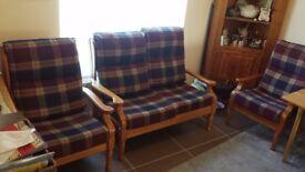 Wooden tartan furniture set -1 Sofa and 2 Chairs