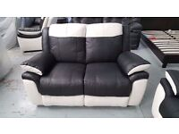 NEW ScS BLACK & WHITE LEATHER 2x 2 SEATER SOFAS BARGAIN £345 Each Can Deliver Collect Kirkby NG17