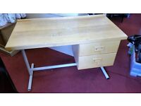 Writing Table / Desk - Wooden & White Metal Stand 2 Drawer Writing Table / Desk