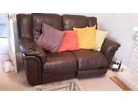 2 Brown leather sofas 4 seater and 2 seater for sale