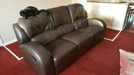 FREE Brown Leather Recliner Sofa