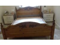 Solid pine ornate kingsize bed frame