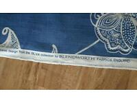 Blue patterned curtain fabric 2x large offcut