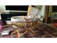 Mamas and papas pine moses basket with pine stand with mattress