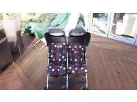 """Maclaren Rally Twin double pushchair / buggy, blue with red and white """"circles"""" pattern"""