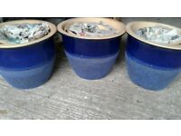 new 3 sets ov 4 blue glazed planters