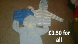 Boys 3-6 months x3 woolen jackets