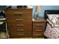 Walnut Chest of drawers + Bedside cabinet + Wall mirror, all for £75