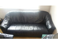 Real leather black sofas 3 seater and 2 seater
