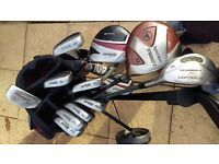 Wilson golf clubs,bag and Dunlop trolley