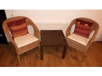Bamboo Chairs with Cushions (As-New Condition) and Side Table (Excellent Condition)-For Pick-up Only