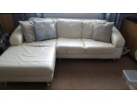 Lovely cream leather corner sofa and matching chair. In very good condition. Very comfortable