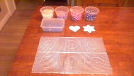 Hama Beads 1000s and 6 Clear 15cm square peg boards and heart and flower peg board