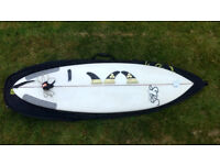 SBS Predator 5'8 Surfboard, Futures Fins, Bag, Leash.