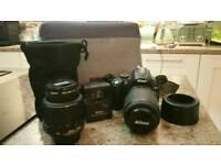 Nikon D5000 digital SLR camera, 2 lenses, bag etc