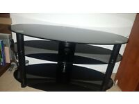 Tv stand - 3 tier oval black glass and aluminium