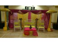 Wedding & Mehndi Stages from £250, Chair Covers, Centrepieces & House lighting for Hire