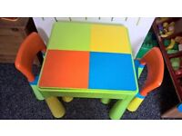 Childrens Lego duolo/Mega blocks table and chairs