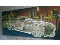 Massive 3D Invisible transparent sports car canvas with night sky line